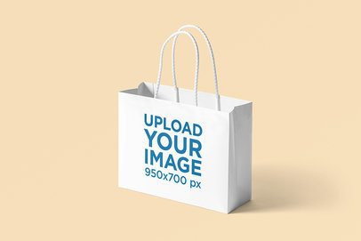 Horizontal Paper Bag Mockup Featuring a Plain Background 3476-el1