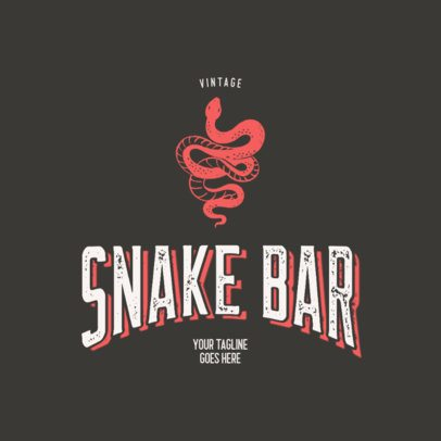 Rustic Logo Template for a Bar Featuring a Snake Clipart 3064b