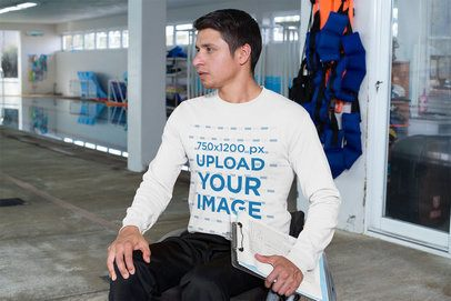 Long Sleeve Tee Mockup of an Athlete at a Public Pool 32490