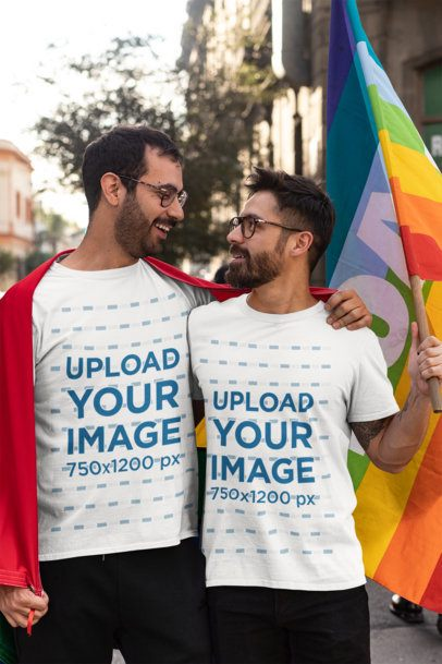 T-Shirt Mockup Featuring an LGBT Couple Holding a Rainbow Flag 32976