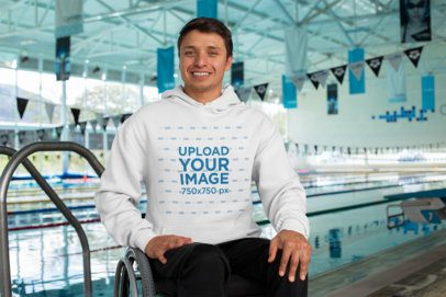 Hoodie Mockup Featuring a Man at a Public Pool 32493