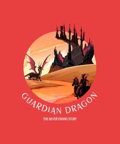 Fantasy-Themed T-Shirt Design Creator Featuring a Dragon 688b-el1