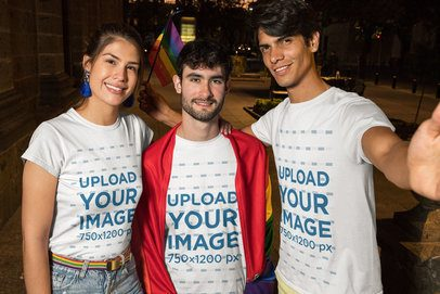 T-Shirt Mockup Featuring Three Friends Taking a Selfie at the Pride Parade 33010