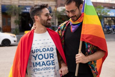 T-Shirt Mockup Featuring a Man Accompanied by His Boyfriend 32990