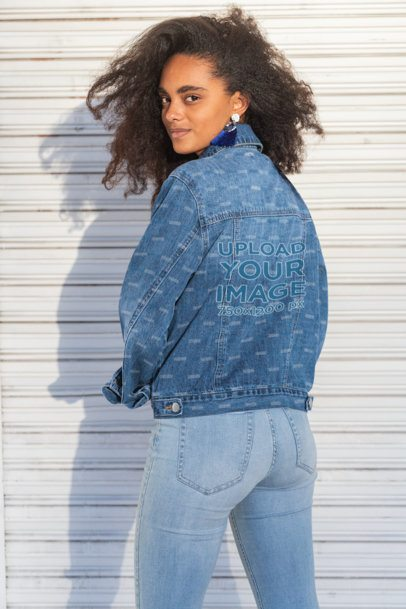 Back-View Mockup of a Woman with Natural Hair Wearing a Denim Jacket 32560