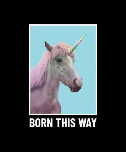 T-Shirt Design Creator Featuring a Picture of a Horse Disguised as a Unicorn 2396d