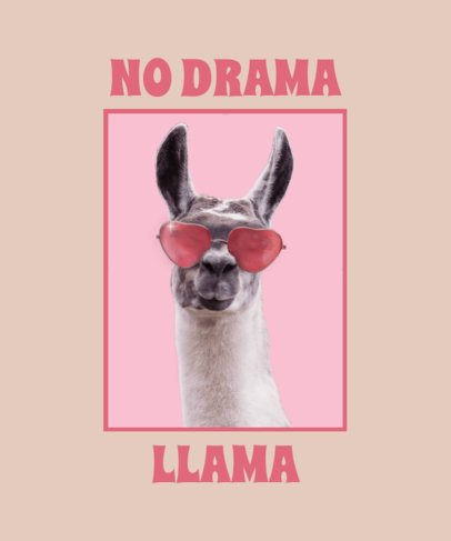 Quote T-Shirt Design Maker Featuring a Picture of a Llama with Sunglasses 2396f