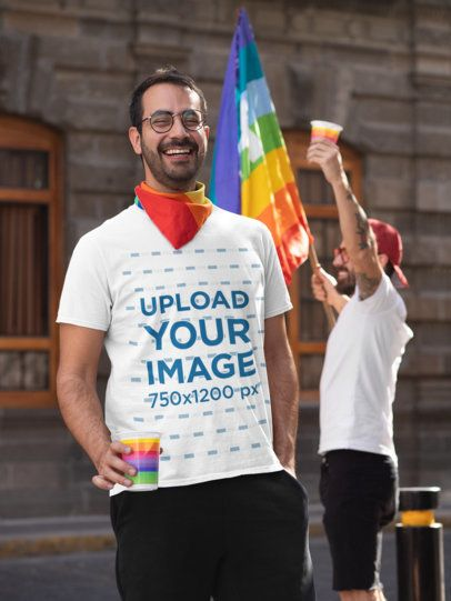 T-Shirt Mockup Featuring a Happy Man Enjoying the Celebration of LGBTQ Pride 32958