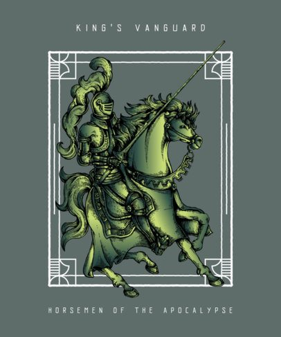 T-Shirt Design Generator Featuring an Armored Knight Riding a Horse 676c-el1
