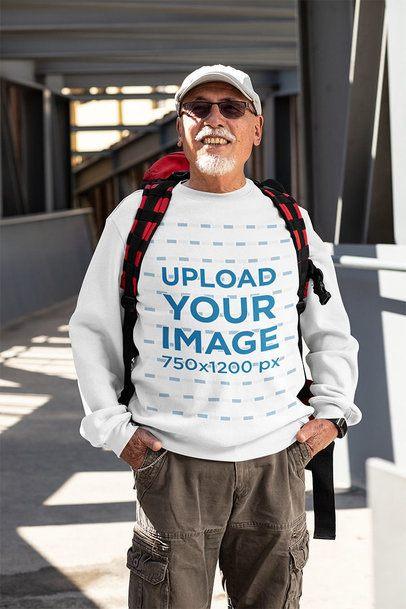 Crewneck Sweatshirt Mockup of a Senior Man Posing 32878
