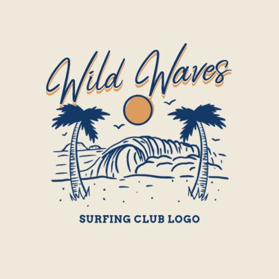 Surfing Apparel Logo Creator with Vintage Beach Graphics 3087d