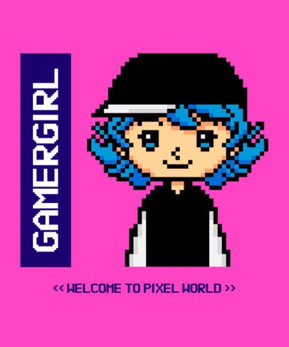 Pixel Art T-Shirt Design Template Featuring a Female Character 2404e