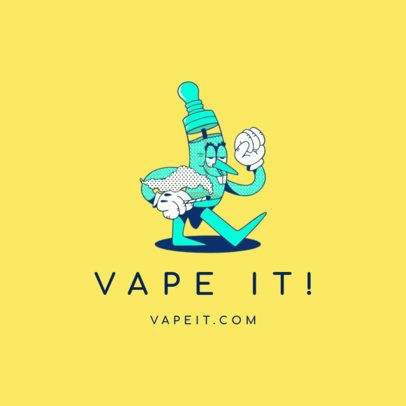 Vape Shop Logo Maker Featuring a Vaping Pen Character 3082b
