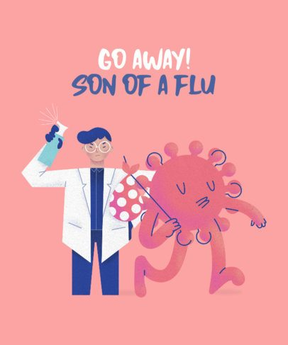 T-Shirt Design Maker with a Doctor Battling a Flu Cartoon 2397e