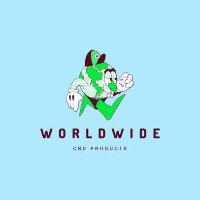 Logo Generator CBD Products Brand Featuring a World Cartoon 3082h