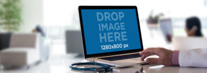 MacBook Mockup of a Senior Doctor at a Hospital a12443wide