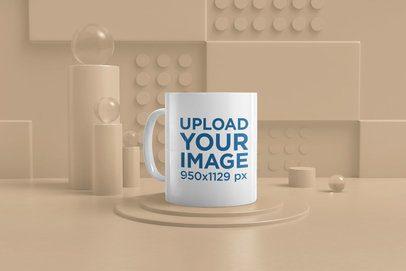 Mockup of an 11 oz Mug at a Crazy 3D Scenario 33837