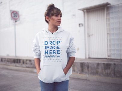 Hoodie Mockup Featuring a Young Trendy Girl with a Hair Bun b12456