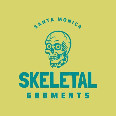 Logo Template for a Streetwear Brand Featuring a Skull Icon 3088j