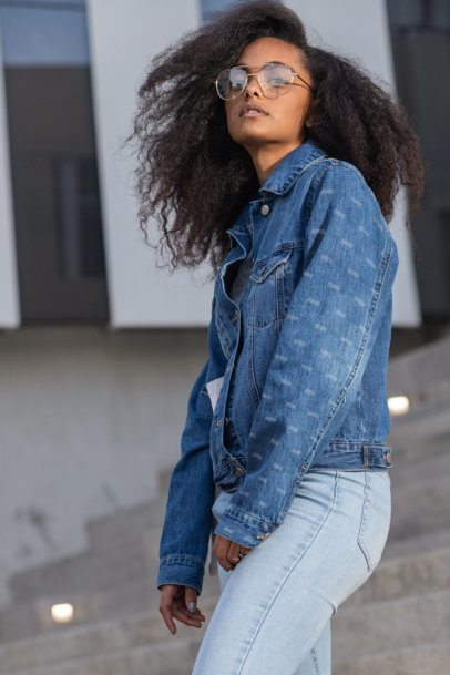 Sleeve Mockup of a Woman Wearing a Denim Jacket 32586