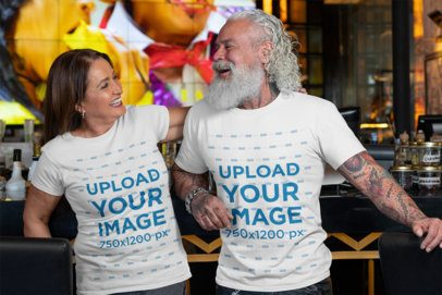 T-Shirt Mockup Featuring a White-Bearded Man and a Woman Laughing 32868