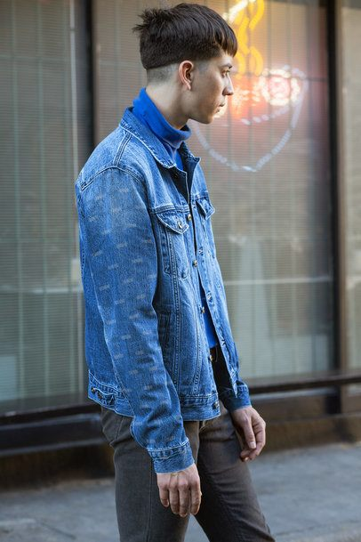 Mockup Featuring a Man Wearing a Denim Jacket with a Customizable Sleeve 32601