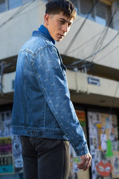 Mockup of a Man Wearing a Denim Jacket Outside 32605