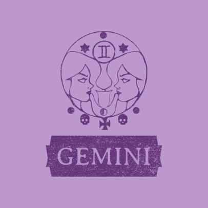 Clothing Brand Logo Maker Featuring a Gemini Sign Graphic 3079d