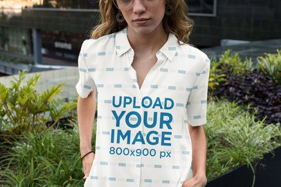 Button-Up Shirt Mockup Featuring a Serious Woman by Some Plants 33131