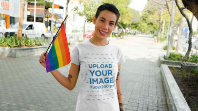 T-Shirt Video Featuring a Woman With Short Hair Holding a Small LGBT Pride Flag 33369