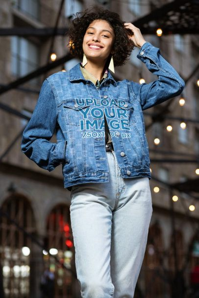 Mockup of a Joyful Woman Wearing a Sublimated Denim Jacket 32589