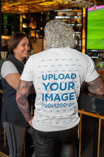 Back View Mockup Featuring a White-Haired Man Wearing a Customizable T-Shirt 32876
