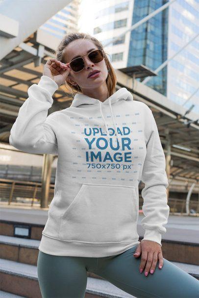 Hoodie Mockup of a Trendy Woman Posing with Sunglasses 3555-el1