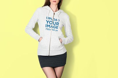 Mockup of a Woman at a Studio with Her Hands in the Pockets of her Hoodie 3573-el1