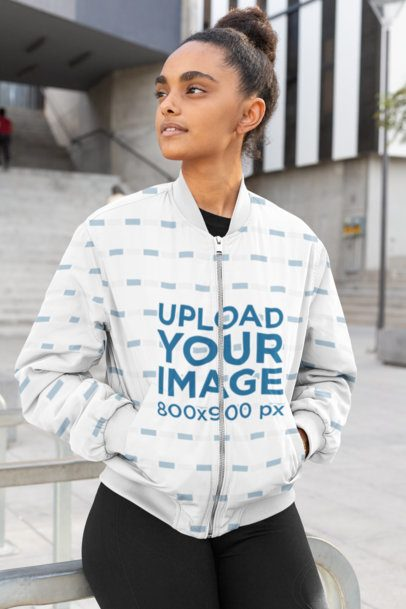 Bomber Jacket Mockup Featuring a Young Woman 33224