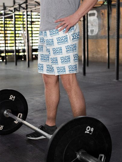Shorts Mockup of a Man Training with a Barbell 33054