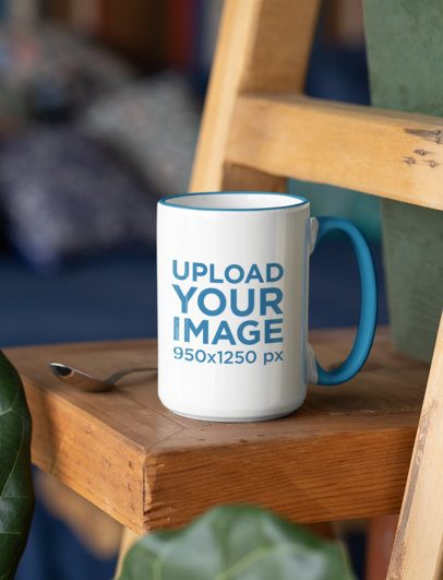 Mockup of a Coffee Mug with a Colored Inner Rim Placed next to a Spoon 33193