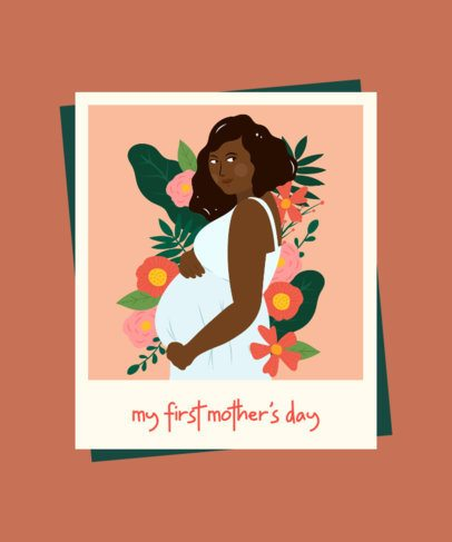 Mother's Day T-Shirt Design Maker Featuring a Pregnant Woman Surrounded by Flowers 2425a