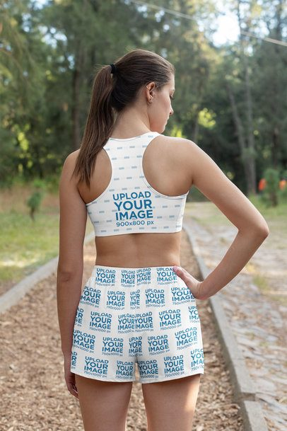 Sports Bra and Shorts Mockup Featuring a Woman Seen From Behind 33096