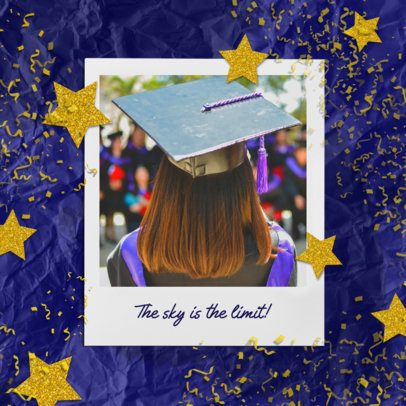 Graduation-Themed Instagram Post Design Maker Featuring Golden Stars Graphics 2431k