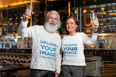 Long Sleeve T-Shirt Mockup of a Senior Man and Woman at a Bar 32889