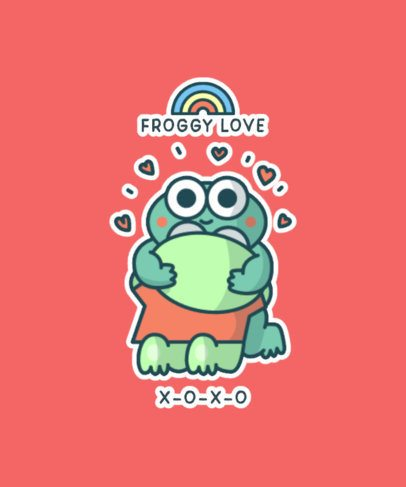 Kawaii T-Shirt Design Maker Featuring a Lovely Frog 827a