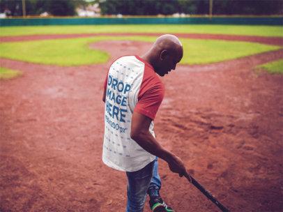 Raglan Tee Mockup of a Guy Playing Baseball (Back) a12469