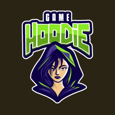 Gaming Logo Template Featuring a Hooded Female Character 833c-el1