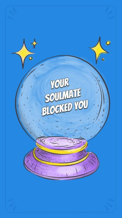 Illustrated Instagram Story Maker Featuring a Magic Crystal Ball with a Pun Quote 781e