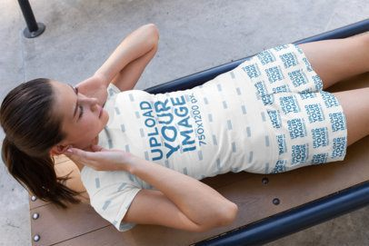 T-Shirt and Shorts Mockup of a Woman Training Abs 33076
