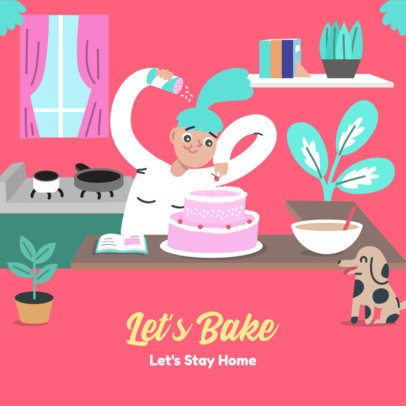 Instagram Post Creator with the Illustration of a Woman Baking at Home 2428c