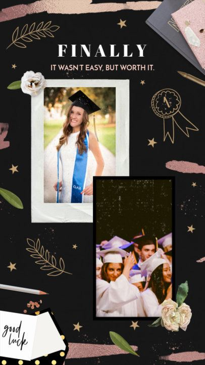 Instagram Story Maker Featuring a Two-Instant Picture Display for Graduation Day 2430c