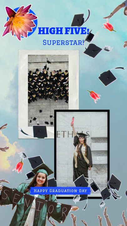 Graduation-Themed Instagram Story Template Featuring Two Photos 2430l