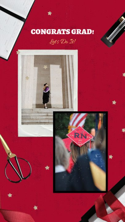 Graduation Day Instagram Story Template Featuring School-Related Graphics 2430f